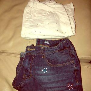 Two pair of Girls embellished midi shorts -size 14